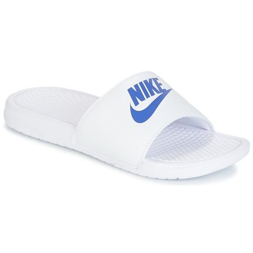90724943d37ad Nike BENASSI JUST DO IT Branco / Azul - Entrega gratuita | Spartoo ...
