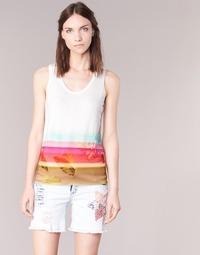 Textil Mulher Tops sem mangas Desigual TEDERI Branco / Multicolor
