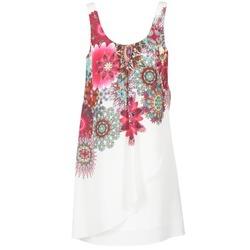 Textil Mulher Vestidos curtos Desigual LIORASA Branco / Vermelho / Rosa