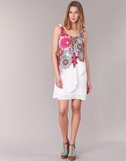 Textil Mulher Vestidos curtos Desigual LIORASE Branco / Vermelho / Rosa