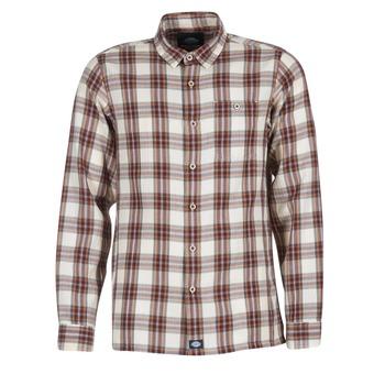 Textil Homem Camisas mangas comprida Dickies HARRELL Branco / Castanho