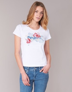 Textil Mulher T-Shirt mangas curtas Pepe jeans AMBER Branco