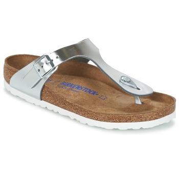 Sapatos Mulher Chinelos Birkenstock GIZEH Prata