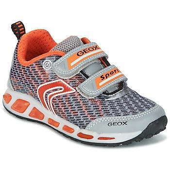 Sapatos Rapaz Sapatilhas Geox J SHUTTLE B.A Cinza / Laranja