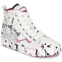 Sapatos Rapariga Sapatilhas de cano-alto Geox J CIAK G. C Branco / Rosa
