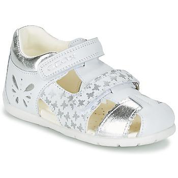 Sapatos Rapariga Sandálias Geox B KAYTAN G. C Branco / Prata