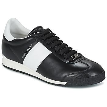 Sapatos Homem Sapatilhas Roberto Cavalli 2042A Preto / Branco