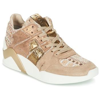 Sapatos Mulher Sapatilhas de cano-alto Serafini CHICAGO Bege / Ouro