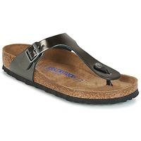 Sapatos Mulher Chinelos Birkenstock GIZEH Cinza / Metalizado