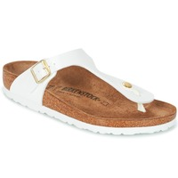 Sapatos Mulher Chinelos Birkenstock GIZEH Branco / Ouro