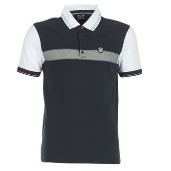 Textil Homem Polos mangas curta Emporio Armani EA7 TENNIS CLASSIC Marinho / Branco