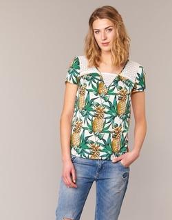 Textil Mulher Tops / Blusas Naf Naf E-ANANAS Branco / Verde / Amarelo