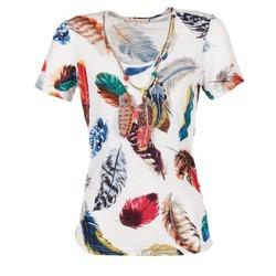 Textil Mulher T-Shirt mangas curtas Derhy JACQUOT Branco / Multicolor