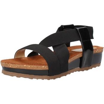 Sapatos Mulher Sandálias Olga Rubini sandali nero tessuto vernice AF792 Nero