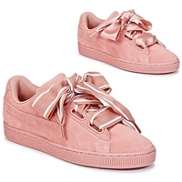 Sapatos Mulher Sapatilhas Puma Basket Heart Satin Rosa