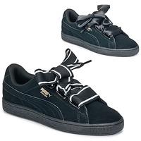 Sapatos Mulher Sapatilhas Puma Basket Heart Satin Preto