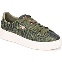 Sapatos Mulher Sapatilhas Puma Basket Platform Bi Color Cáqui