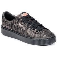 Sapatos Mulher Sapatilhas Puma Basket Platform Bi Color Preto / Rosa
