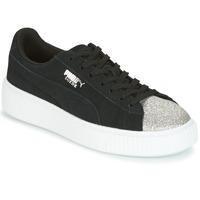 Sapatos Mulher Sapatilhas Puma SUEDE PLATFORM GLAM JR Preto / Prateado