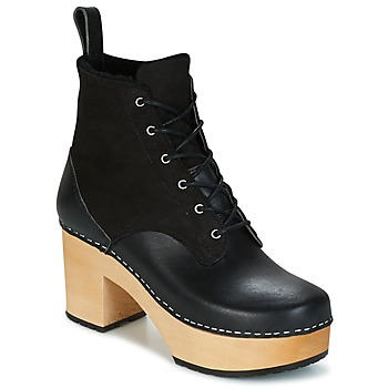 Sapatos Mulher Botins Swedish hasbeens HIPPIE LACE UP Preto