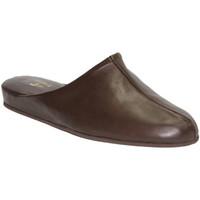 Sapatos Homem Tamancos Trigono cavalheiro em couro flip- flop marrom marrón
