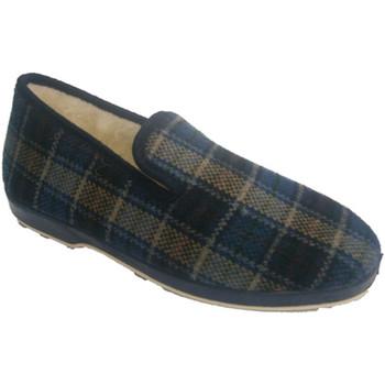 Sapatos Homem Chinelos Made In Spain 1940 Soca azul quadriculada sapato de pano em azul