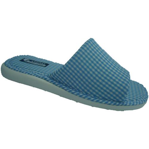 Sapatos Mulher Chinelos Andinas Abrir toe chinelo toalha vichy motivo no azul