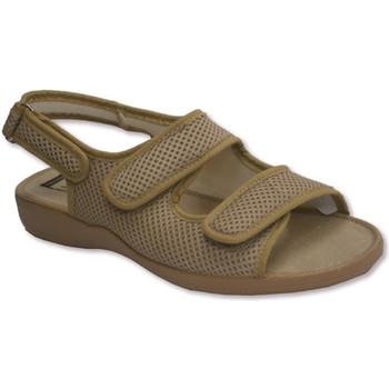Sapatos Mulher Sandálias Calzamur Dedo aberto e sapatos de salto broche duas tiras de velcro no pe beige