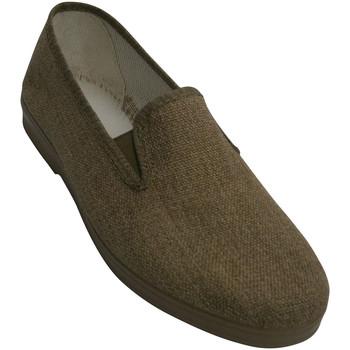 Sapatos Homem Chinelos Chapines Sapatas de lona com laterais de borracha beige