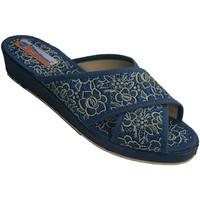 Sapatos Mulher Chinelos Made In Spain 1940 Crzadas tiras tangas mulher com flores d azul