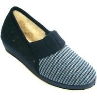 Sapatos Mulher Chinelos Made In Spain 1940 Mulher sapato Houndstooth com pura lã vi azul