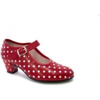 Sapatos Mulher Escarpim Danka Sevilha Flamenco sapato dança bolinhas brancas para meninas ou m rojo
