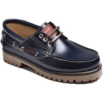 Sapatos Homem Sapato de vela Edward's Pele gordura único Náutico  em A azul