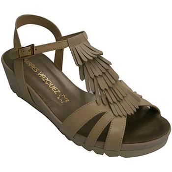 Sapatos Mulher Sandálias Pomares Vazquez Mulher sandália de tiras com guarnição d beige