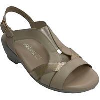 Sapatos Mulher Sandálias Pomares Vazquez Sandália da mulher com tiras elásticas n beige