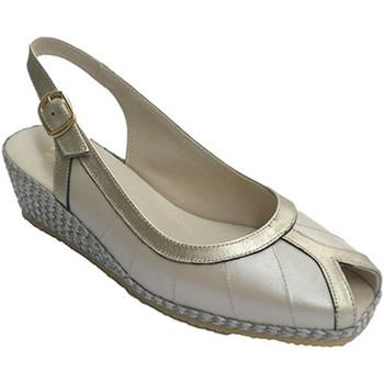 Sapatos Mulher Sandálias Festival Sandália em metálico bordas combinado de beige