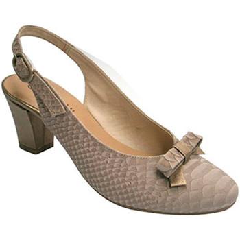 Sapatos Mulher Escarpim Roldán calcanhar para trás Peep combinado com n beige