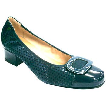 Sapatos Mulher Escarpim Rold?n couro e nubuck combinado manoletinas  em Azul-marinho azul