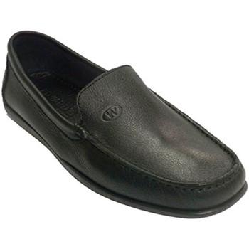 Sapatos Homem Mocassins Edward's Homem mocassim sola de couro costurados negro