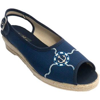 Sapatos Mulher Sandálias Made In Spain 1940 Mulher chinelo aberto com strip, atrás d azul