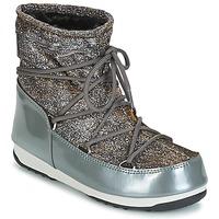 Sapatos Mulher Botas de neve Moon Boot MOON BOOT LOW LUREX Cinza / Prateado