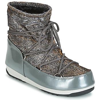 Sapatos Mulher Botas de neve Moon Boot MOON BOOT WE LOW LUREX Cinza / Prateado