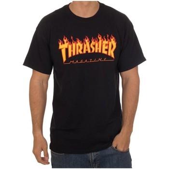 Textil Homem T-Shirt mangas curtas Thrasher CAMISETA  FLAME LOGO NEGRA HOMBR Preto
