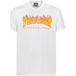 Textil Homem T-Shirt mangas curtas Thrasher CAMISETA  FLAME LOGO BLANCO HOMB Branco