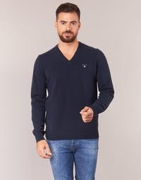 Textil Homem camisolas Gant SUPER FINE LAMBSWOOL V-NECK Marinho