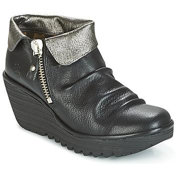 Sapatos Mulher Botas baixas Fly London YOXI Preto / Prateado