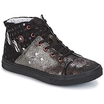 Sapatos Rapariga Sapatilhas de cano-alto Catimini ROUSSEROLLE Preto / Prateado