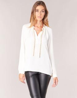 Textil Mulher Tops / Blusas MICHAEL Michael Kors SLIT L/S CHAIN Creme