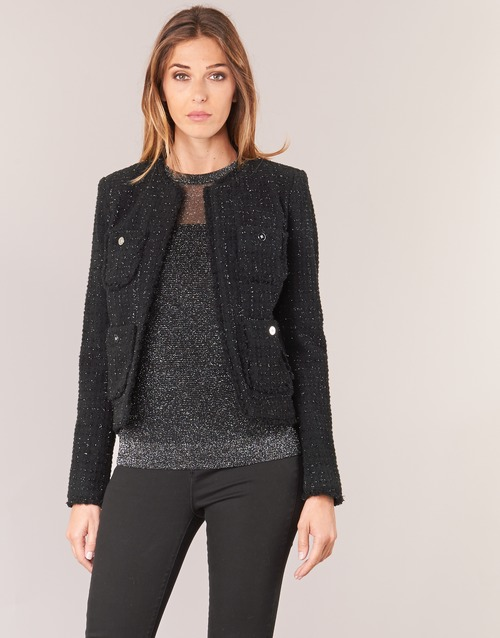 Textil Mulher Casacos/Blazers MICHAEL Michael Kors FRAY TWD 4PKT JKT Preto / Prata