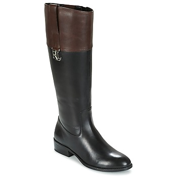 Sapatos Mulher Botas Ralph Lauren MERRIE Preto / Castanho